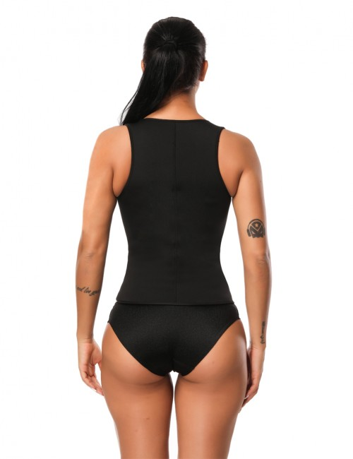 Impeccable Large Black Neoprene Body Shaper Zipper Front Curve-Creating