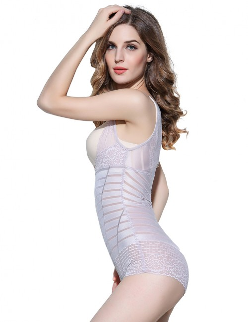 Basic Shaping Printed Lace Body Shaper Hook Straps Light Purple Supper Fashion