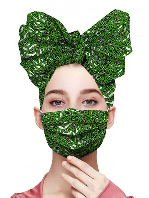Colorful Exotic Print Headscarf Anti-Dust Mask Feminine Elegance