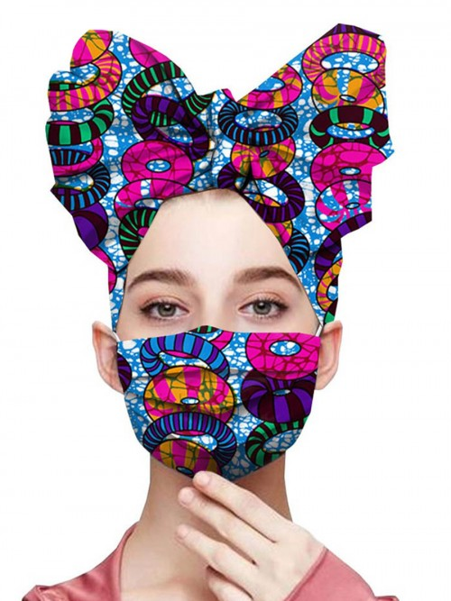 Lovable Purple Batik Dyeing Bowknot Headscarf Dust-Free Mask Charming Fashion
