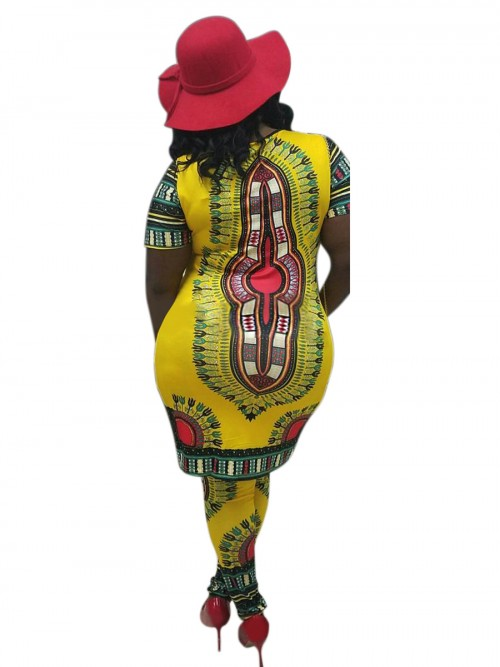 Sweety Yellow African Print Midi Dress Short Sleeve For Women Online
