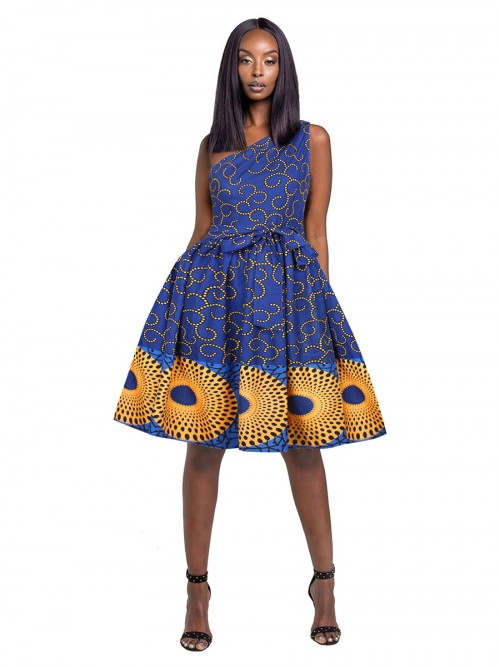 Stretchable Single Shoulder Skater Dress African Paint Ladies Grace