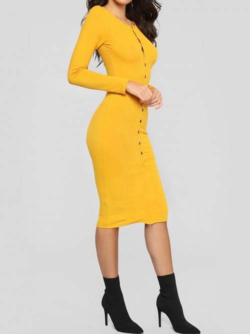 Bewitching Yellow Long Sleeve Bodycon Dress Button Front For Work