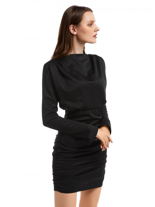 Effective Black Solid Color High Neck Bodycon Dress Understated Design