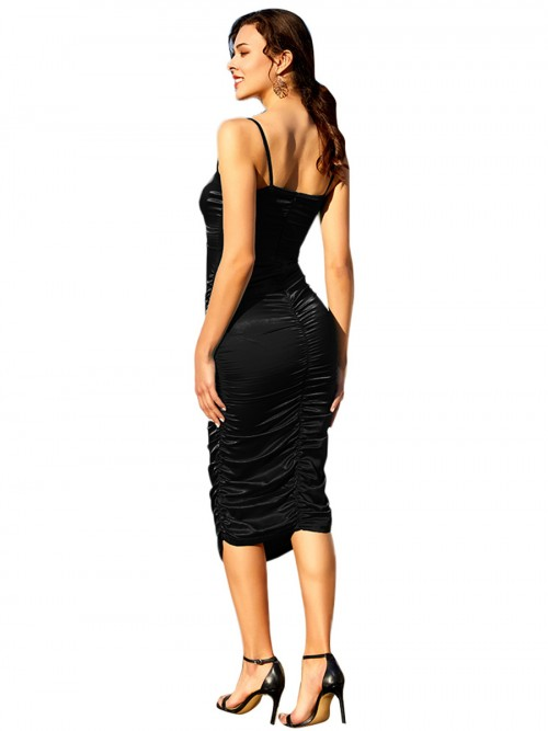 Elaborate Black Sling Bodycon Dress V Collar Pleated Fashion