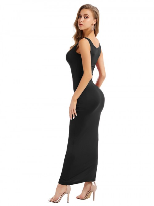 Black Bodycon Dress Square Neck Maxi Length All Over Smooth