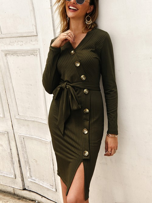 Charming Army Green Waist Knot Bodycon Dress Button V-Neck For Upscale
