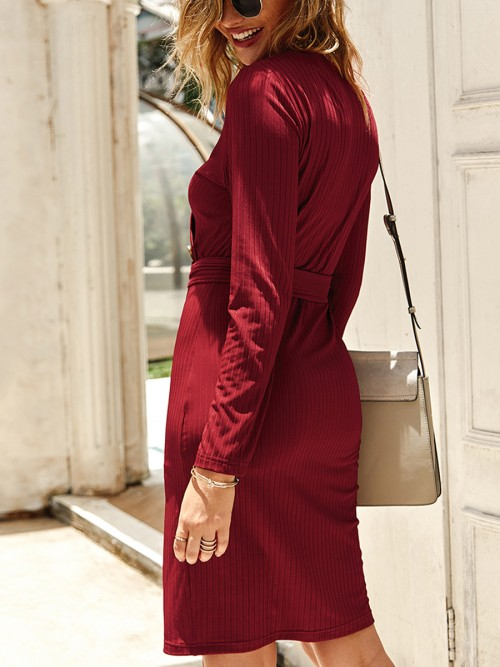 Ladies Wine Red Bodycon Dress Front Slit Full Sleeve Lightweight