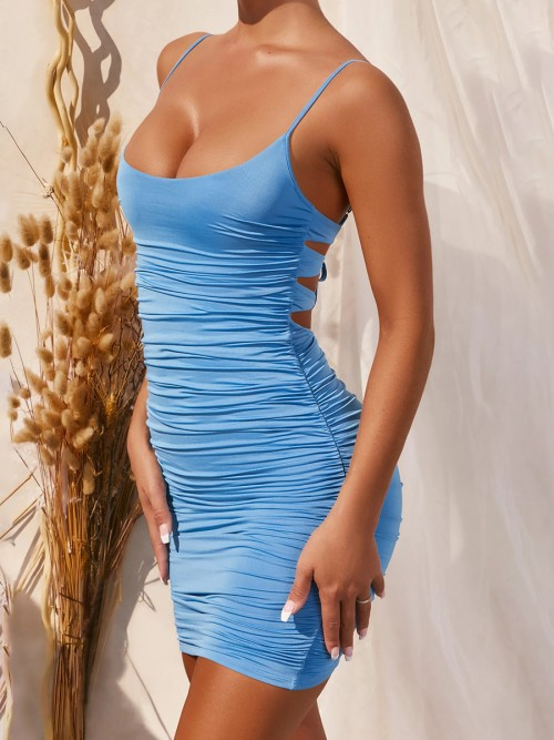 Dazzling Blue Slender Strap Plunge Collar Bodycon Dress Natural Outfit