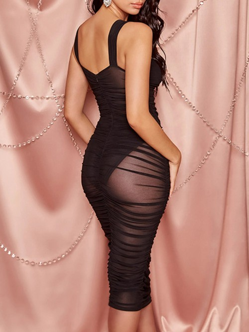 Colorful Black Sheer Mesh Bodycon Dress Solid Color Ultra Cheap