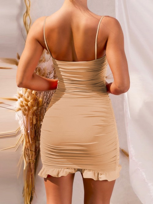 Absorbing Khaki Ruffle Hem Bodycon Dress Open Back Leisure Fashion