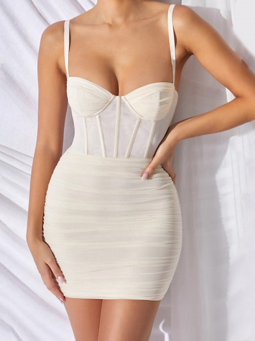 Good-Looking Beige Plunge Neck Sling Bodycon Dress Nice Quality