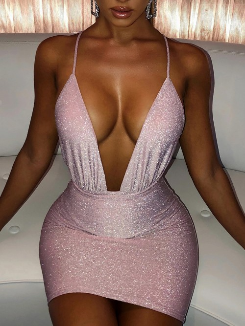Exotic Pink Plunge Collar Bodycon Dress Open Back For Beauty