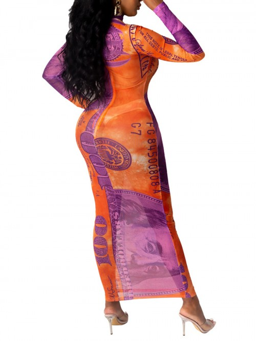 Bodycon Dress Dollar Print Orange High Neck Fabulous Fit