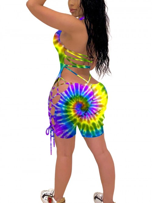 Classic Cross-Criss Tie Dye Romper Backless Fashion Comfort