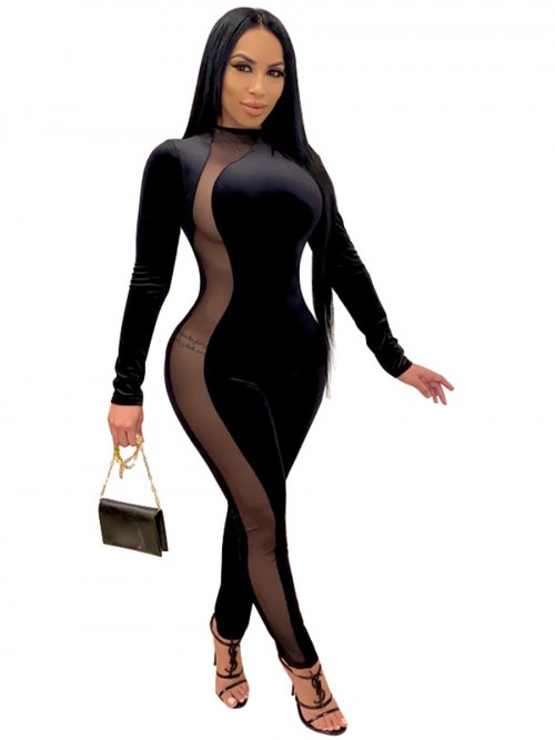 Black Side Mesh Splice Long Sleeve Jumpsuit High Quality