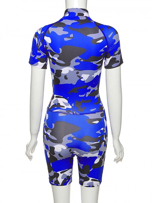 Retro Blue Camouflage Printed Zip Sports Suit High Quality