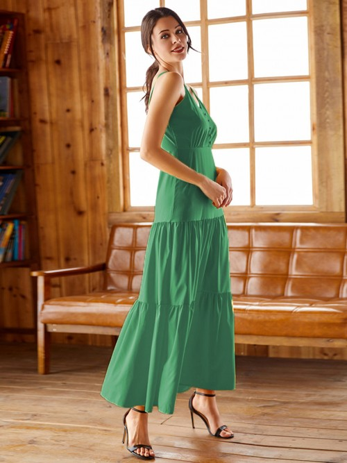 Adorable Green Ruched Maxi Dress Tie Large Size Unique Fashion