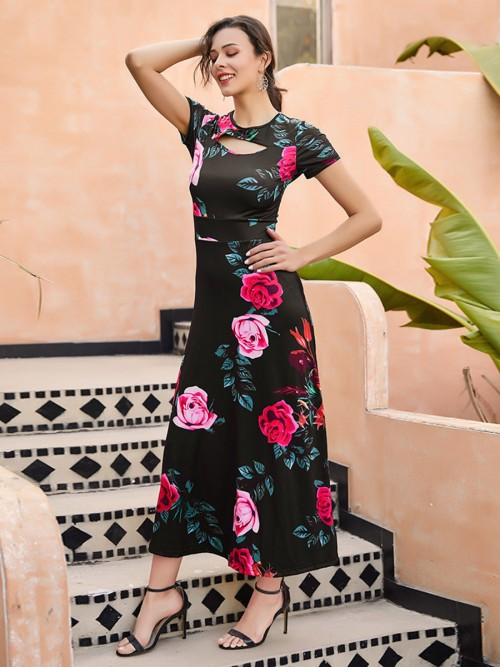 Romantic High Rise Maxi Dress Cutout Queen Size Preventing Sweat