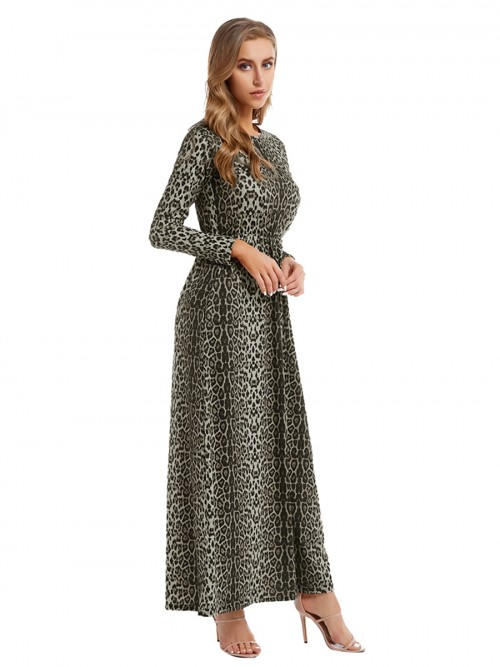 Distinctive Long Sleeve Maxi Dress Plus Size Female Grace