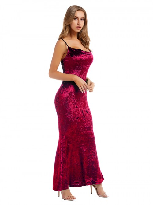 Bewildering Wine Red Velvet Maxi Dress Sling Backless Superior Quality