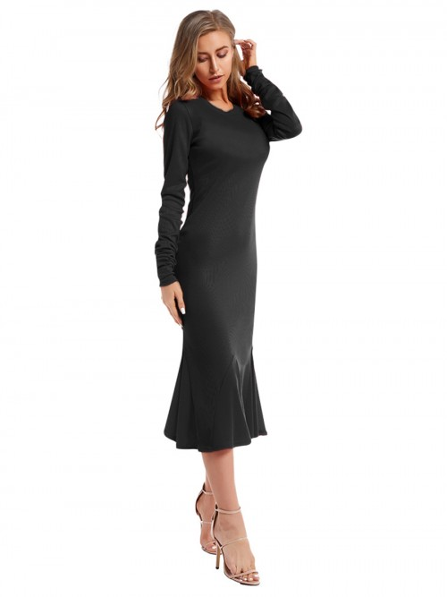 Romantic Black Maxi Dress Crew Neck Long Sleeve Wedding Trip