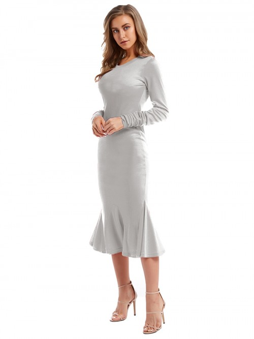 Luscious Gray Fishtail Hem Round Collar Maxi Dress Glamor