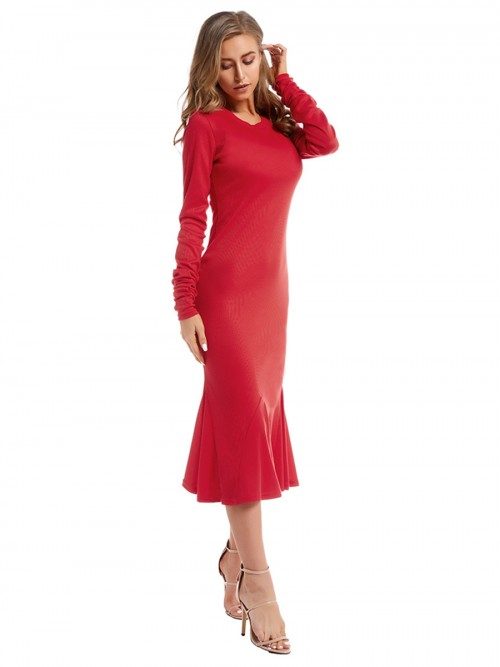 Elegant Red Long Sleeve Maxi Dress Solid Color Fashion Online