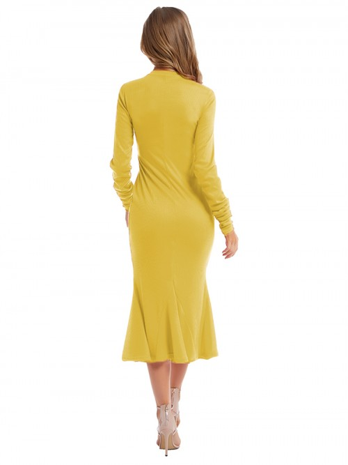 Comfortable Yellow Maxi Dress Full Sleeve Crew Neck Weekend Time