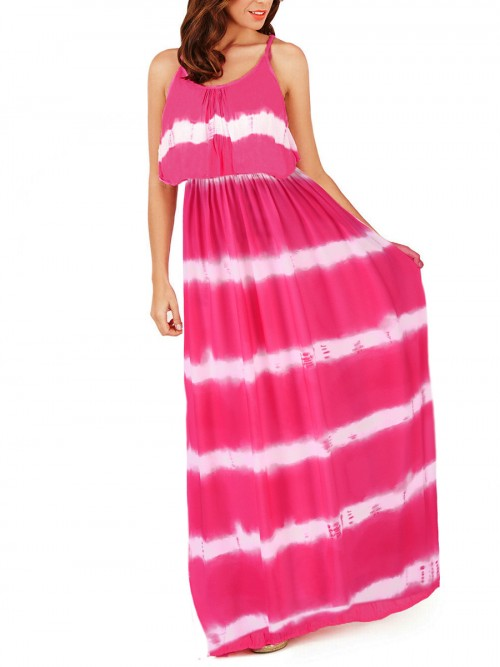 Explicitly Chosen Rose Red Round Neck Floor Length Maxi Dress