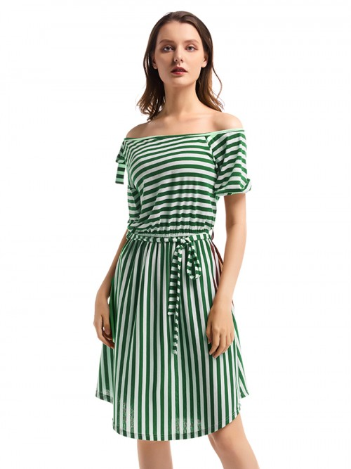 Dramatic Knit Midi Dress Stripe Elastic Waist All Over Smooth