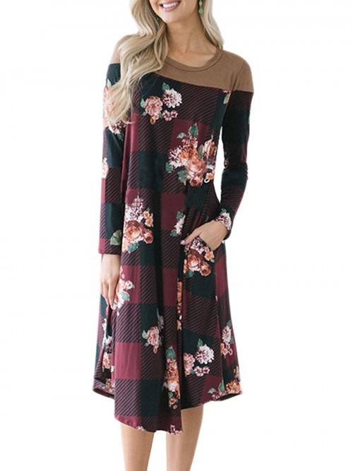 Body Hugging Wine Red Pocket Midi Dress Floral Pattern Women's Fashion