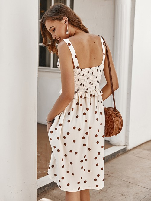 Supper Fashion Apricot Button Backless Midi Dress Polka Dot Outdoot