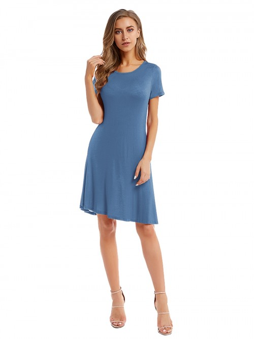 Fantasy Blue Ruched Plain Midi Dress With Pocket Smooth