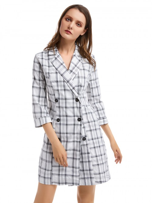 Maiden White Turndown Neck Mini Dress Plaid Print Ultra Sexy