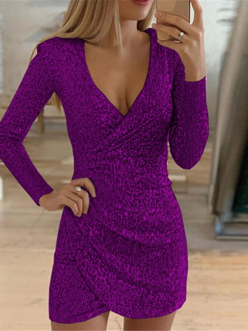 Attractive Purple Sequin Cross Mini Dress Full Sleeves On-Trend