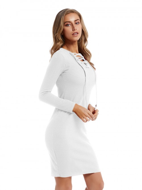 Chic White Sweater Dress Mini Length Lace-Up Fashion Online