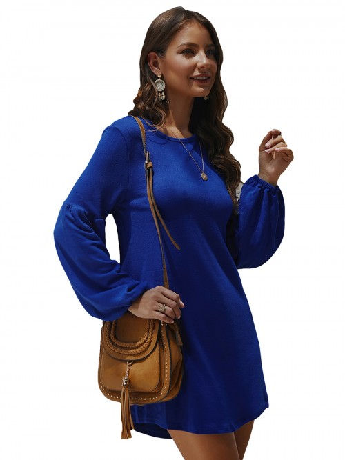 Romance Purplish Blue Full Sleeve Round Collar Mini Dress Ideal Choice