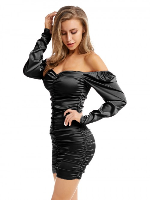 Slim Black Off-Shoulder Bodycon Dress Ruched For Sexy Women