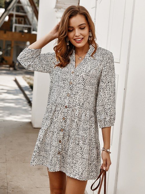 Slender White Button Front Mini Dress 3/4 Sleeve Weekend Time