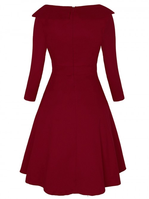 Suave Wine Red Large Size Turndown Collar Skater Dress For Beauty