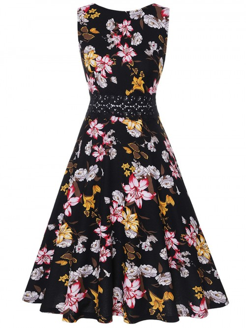 Honey Sleeveless Skater Dress Floral Printed Casual Women