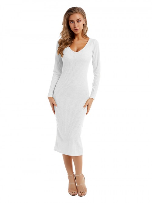 Fabulously White Sweater Dress Solid Color Long Sleeve For Stunner