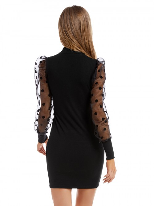 Causal Black Knitted Dress Mesh Patchwork Mock Neck Forward Women