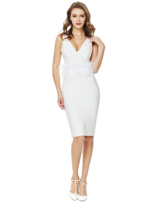 Refined White Feather Waist V Collar Bandage Dress Zip Womens Apparel
