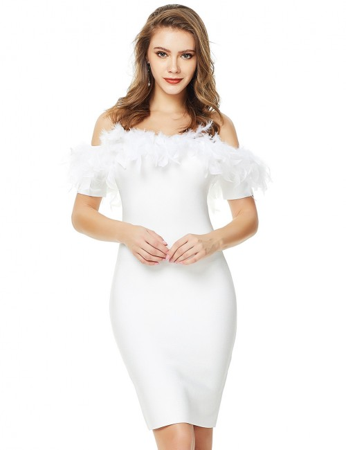 Exquisite White Feather Off Shoulder Backless Bandage Dress Latest Fashion