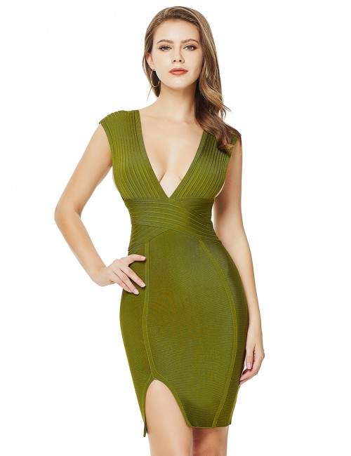 Bewildering Green Ribbed Split Zip Bandage Dress Wide Strap Women Fashion