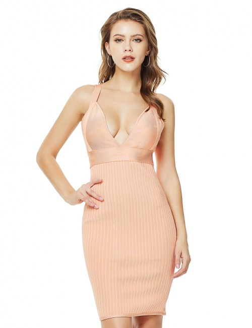 Slip Orange Deep V Collar Sling Bandage Dress Backless Ultra Cheap