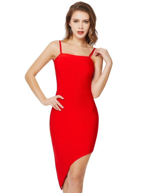 Comfort Open Back Red Zipper Irregular Hem Bandage Dress Lady Dress