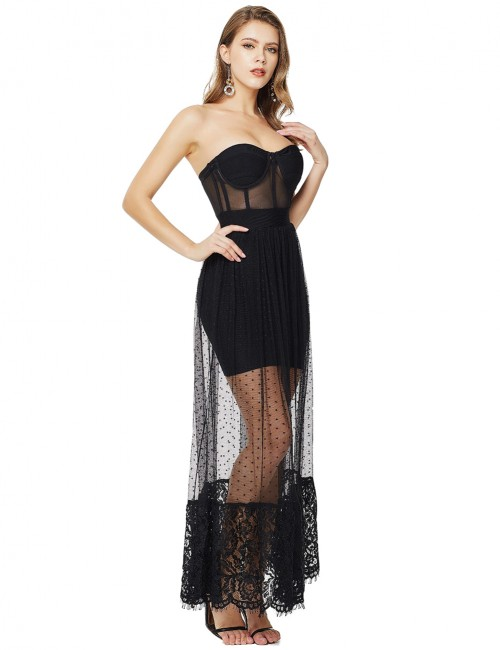 Retro Bandeau Black Mesh Patchwork Lace Bandage Dress Snug Fit